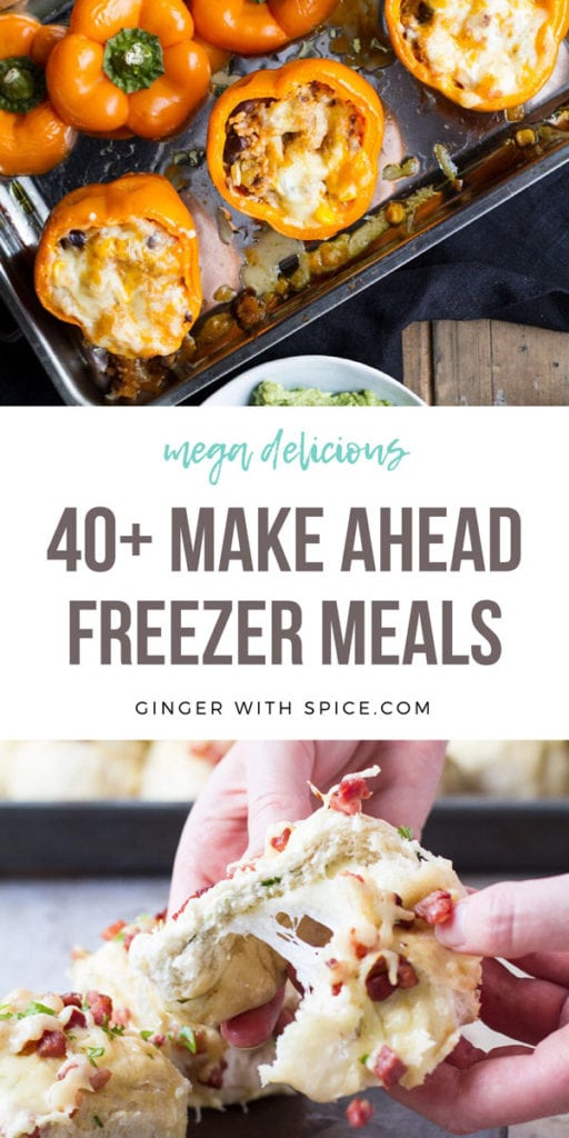 Pinterest pin with two images from post and text overlay: 40+ Make Ahead Freezer Meals.