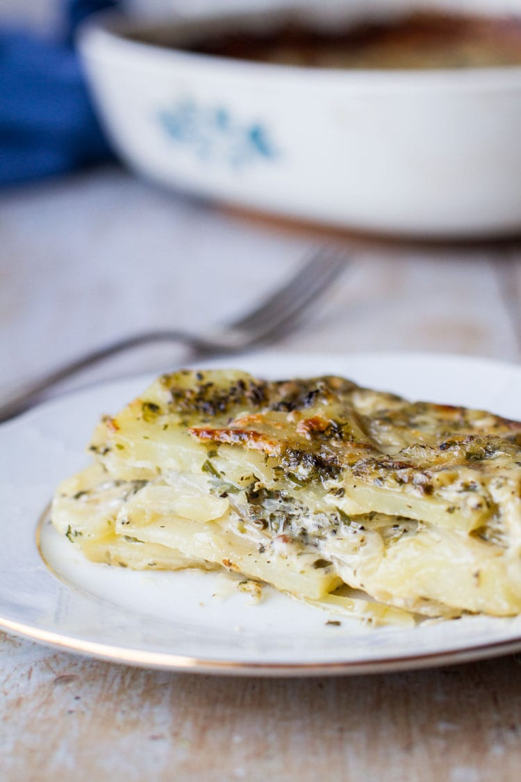 Close-up of the layers inside a scalloped potatoes dish.