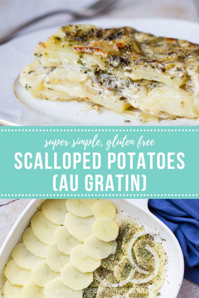 Two images from post and text overlay: Scalloped potatoes (au gratin). Pinterest pin.