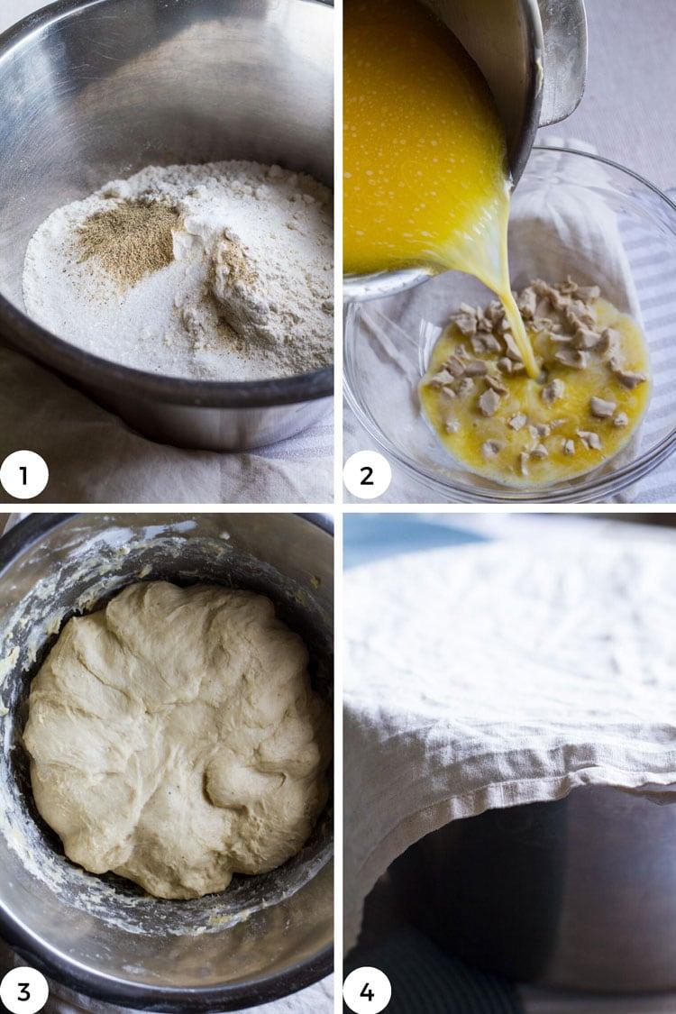Steps on how to make dough.
