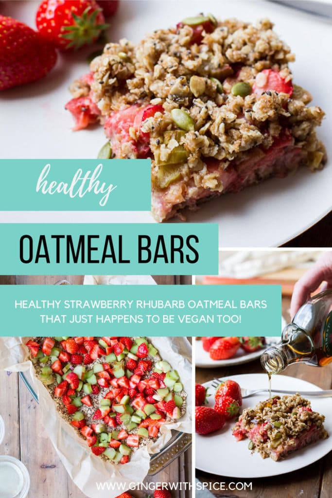 Three images of oatmeal bars from the post and text overlay in three turquoise boxes.