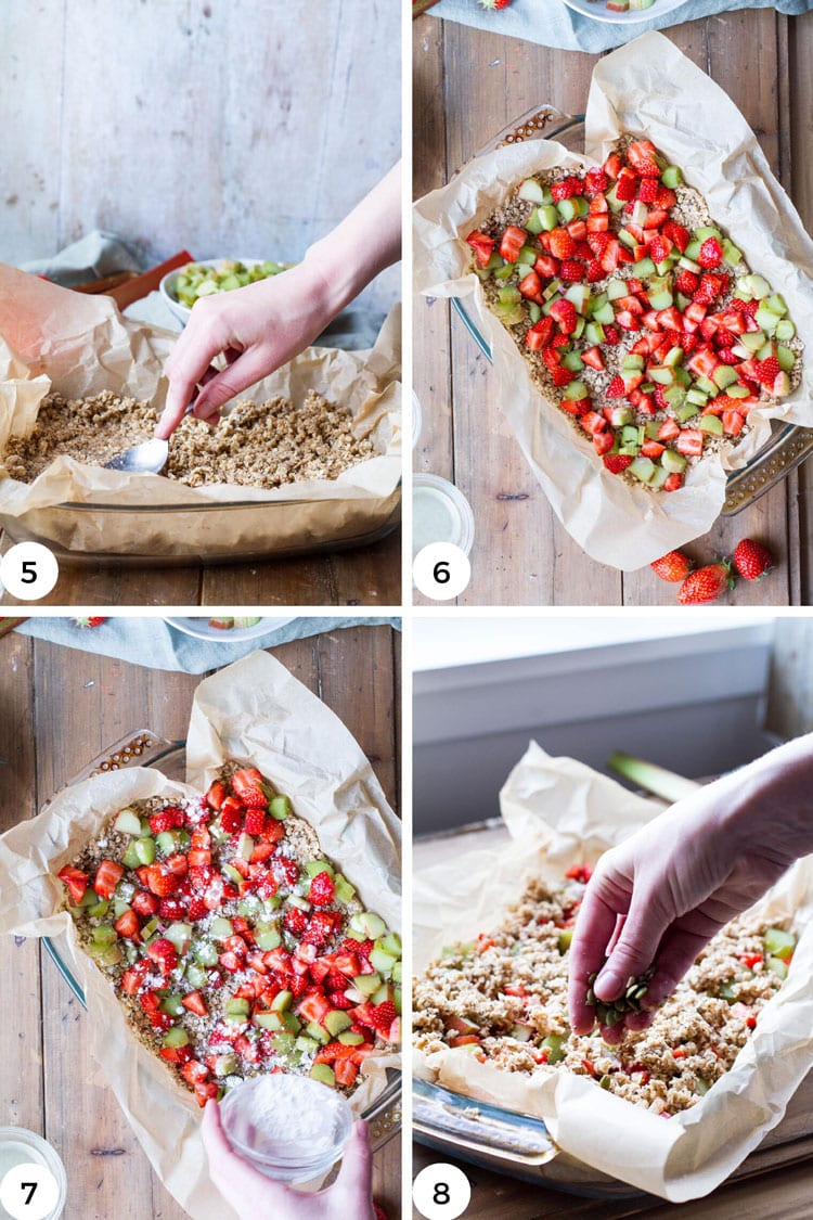 Steps to layer the oatmeal mixture and fruit in the pan.