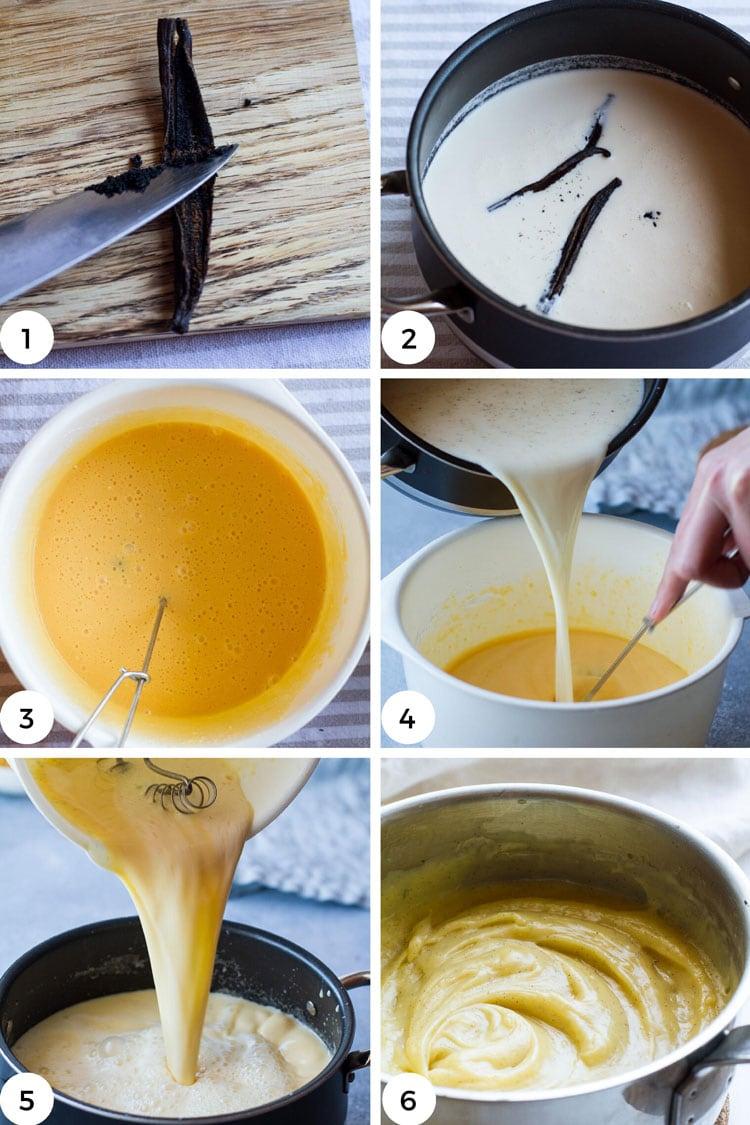 Steps to make vanilla custard.