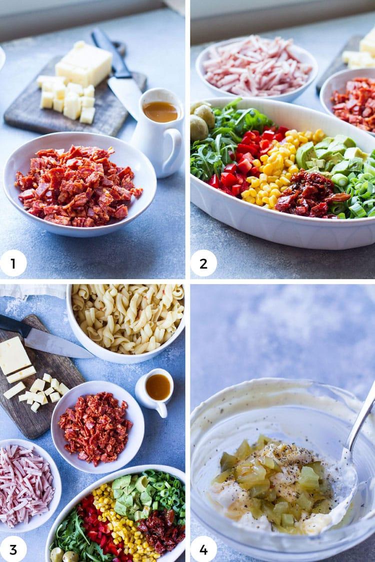 Steps to make pasta salad.