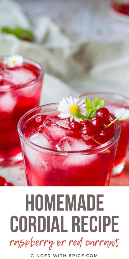 A glass filled with ice cubes and a red drink. Garnished with flower, mint leaves and red currants. Pinterest pin.