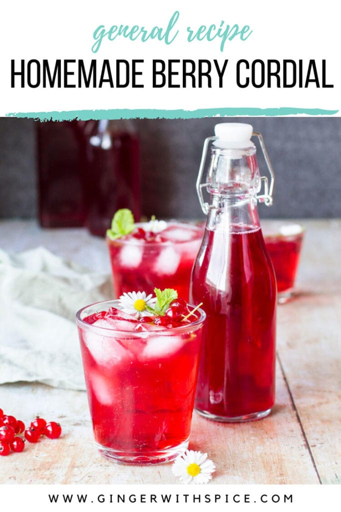 A glass with diluted red cordial and one glass bottle with cordial syrup. Pinterest pin.