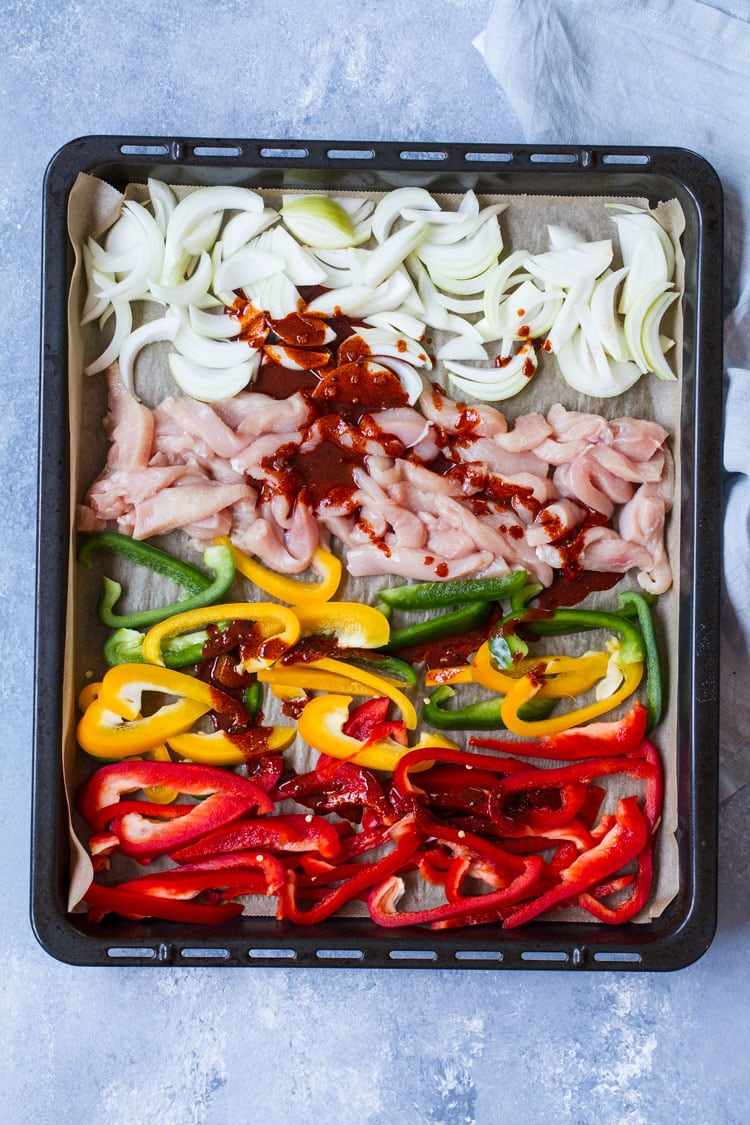Bell peppers, onion and chicken before mixing with marinade.