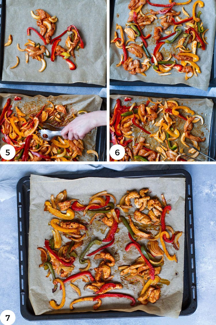 Steps to bake chicken fajitas in the oven.