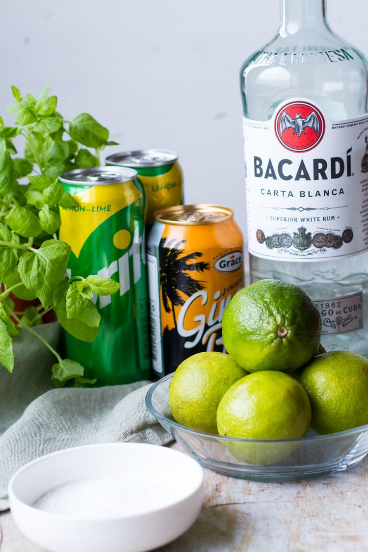 Ingredients to make a classic mojito.