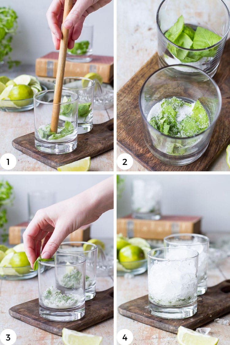 Steps to make a classic mojito cocktail.