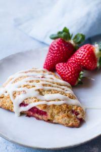 Strawberry Scones Recipe with Cream Cheese Glazing