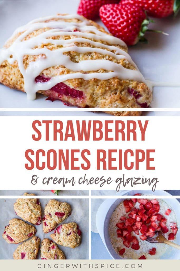 Pinterest pin for Strawberry Scones Recipe
