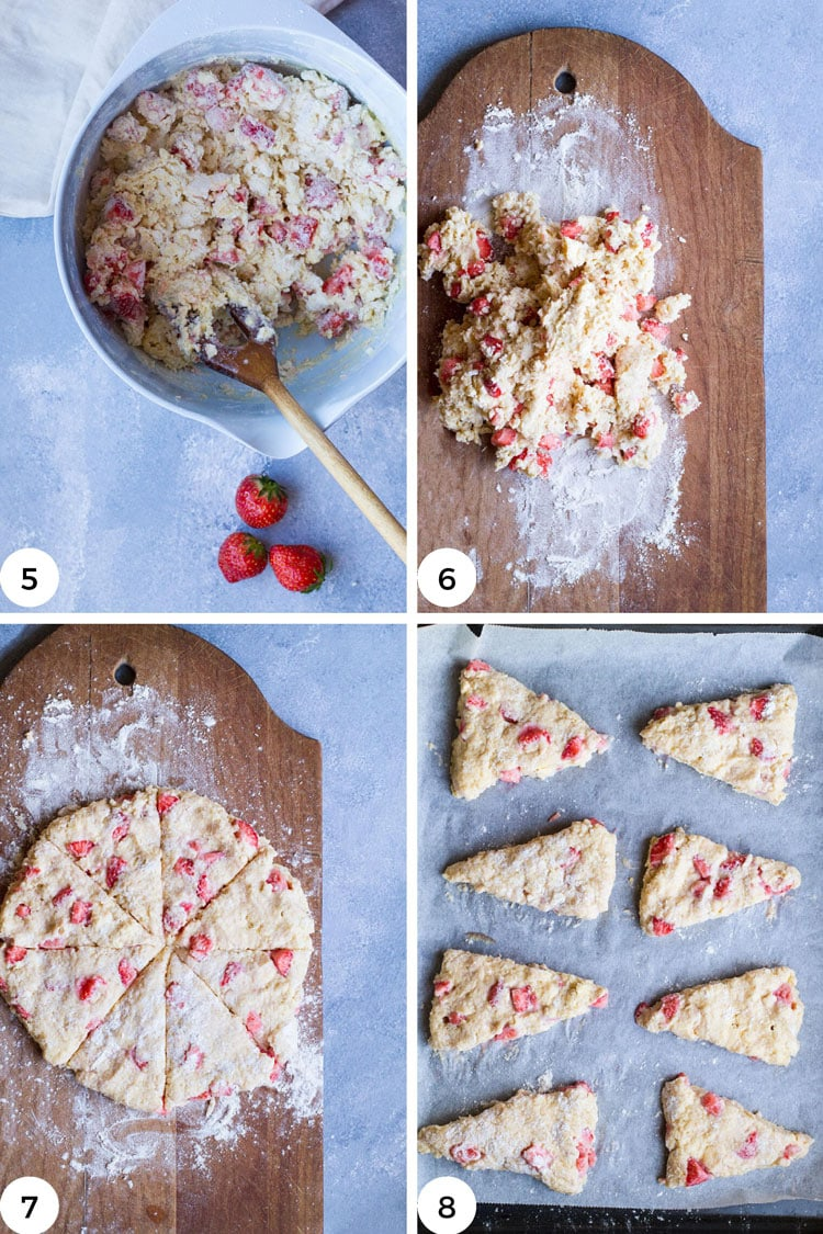 Steps to shape strawberry scones.