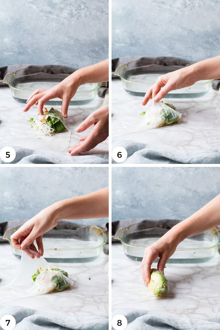 Steps to roll a summer roll.