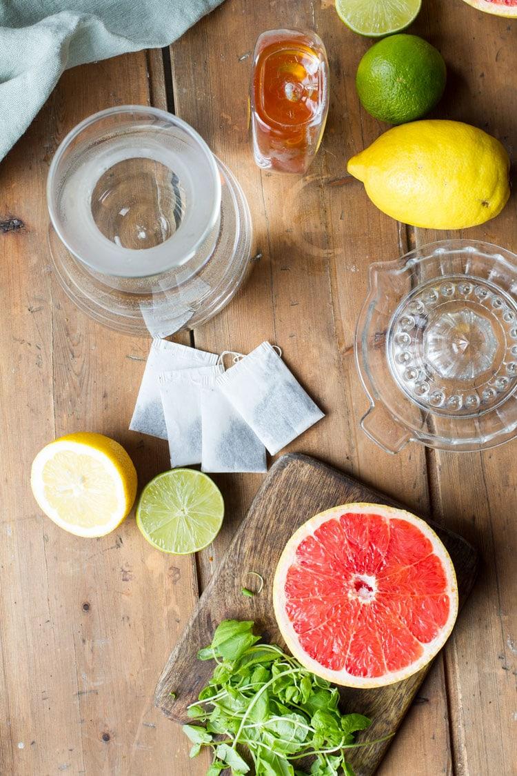 Ingredients to make grapefruit iced green tea.