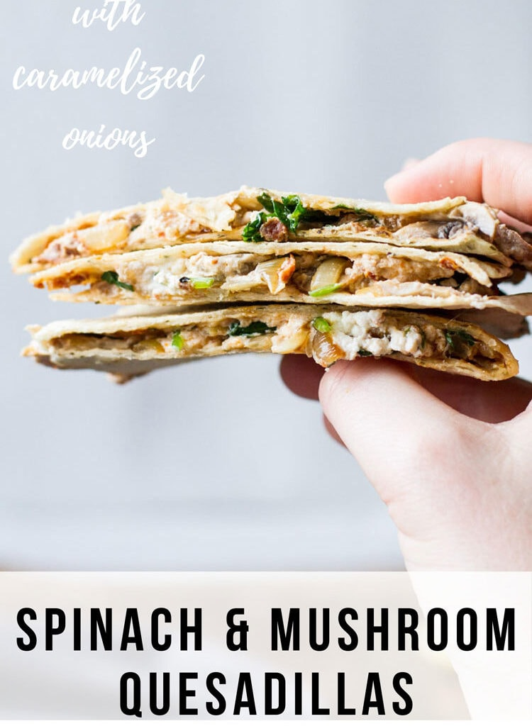 Hand holding three pieces of quesadilla in a stack. Pinterest pin.