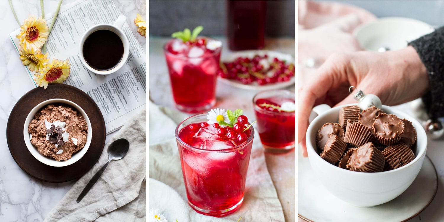 Three images in a collage: chocolate overnight oats, red currant cordial, almond milk chocolates.