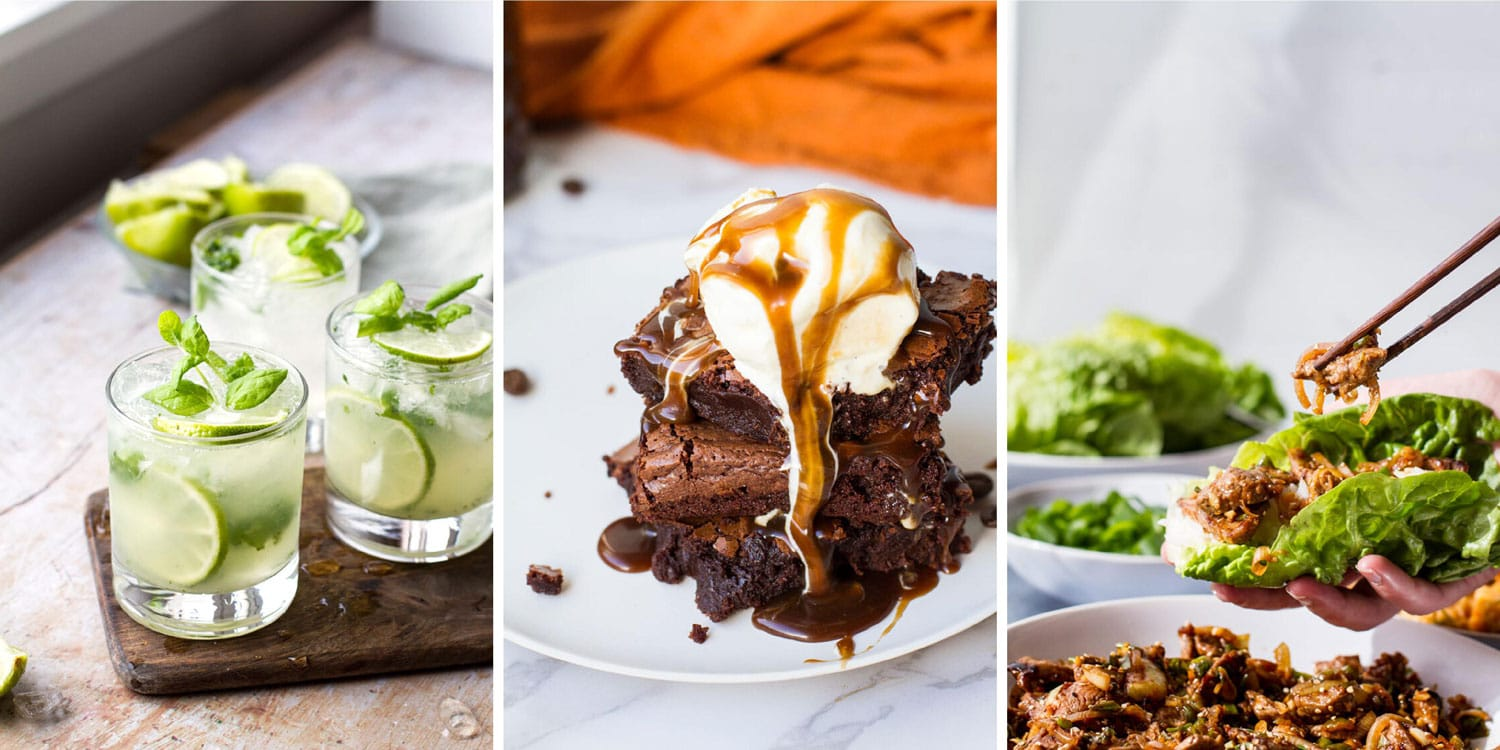 Three images in a collage: mojito, Guinness brownies, beef bulgogi.