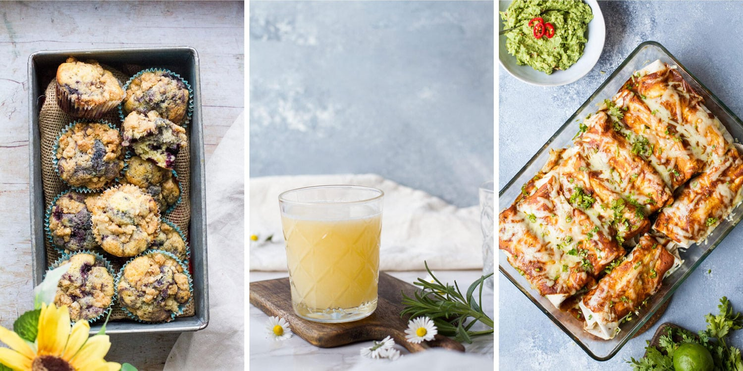 Three images in a collage: blueberry muffins, apricot gin fizz, enchiladas.