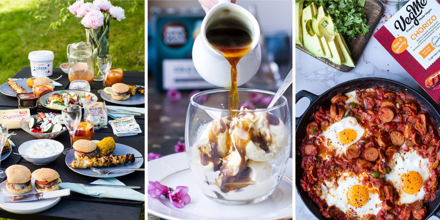 Three images in a collage: affogato for Nescafé Dolce Gusto, BBQ table for Synnøve Finden, shakshuka for VegMe.