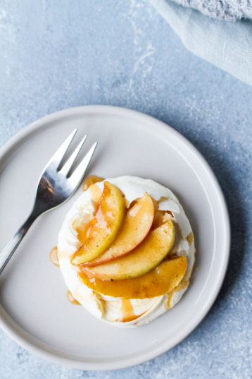 Salted Caramel Apple Mini Pavlova