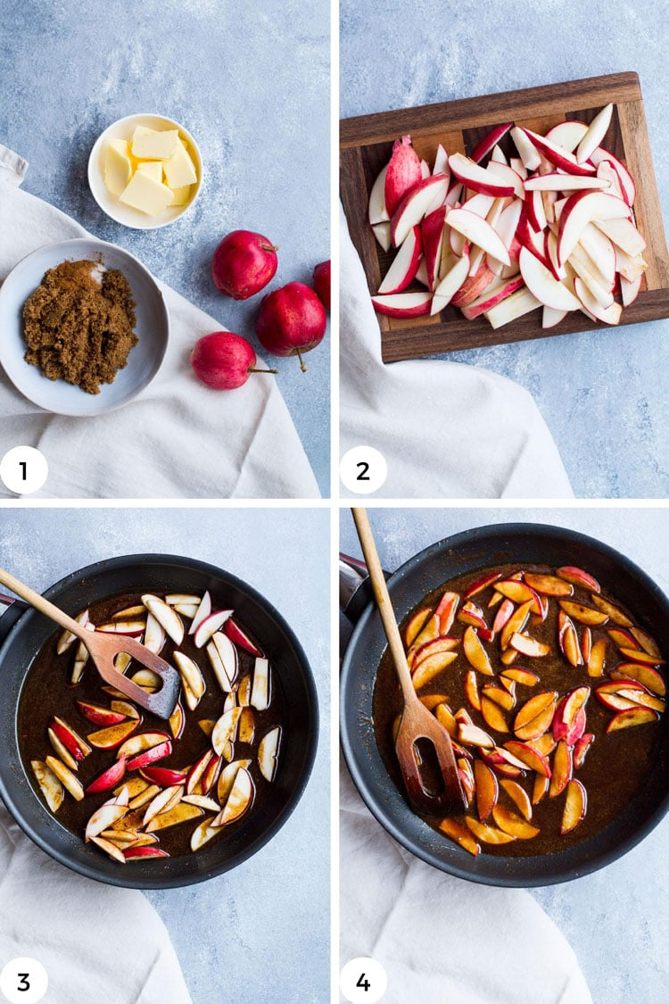 Steps to make the apple filling.