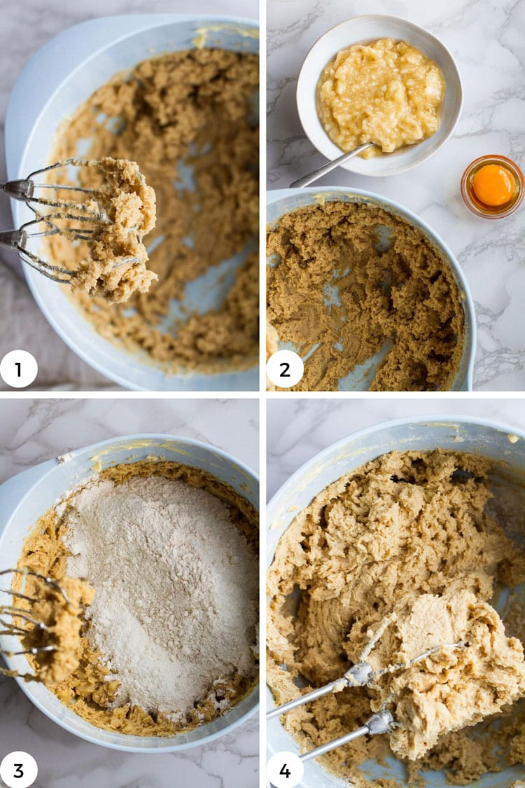 Steps to make banana snickerdoodle cookies.
