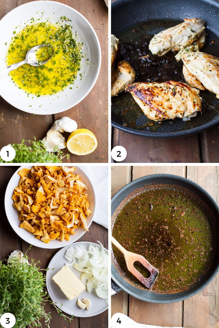 Steps to make the chicken and brown butter.