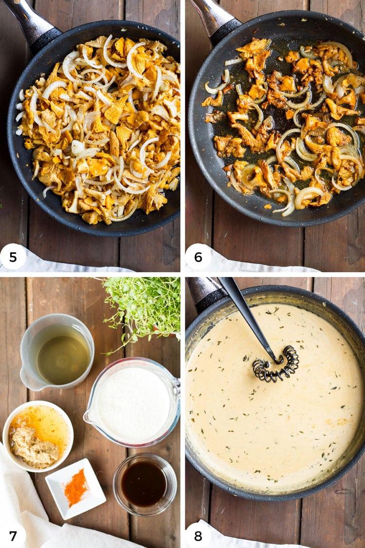 Steps to make the mushroom and sauce.