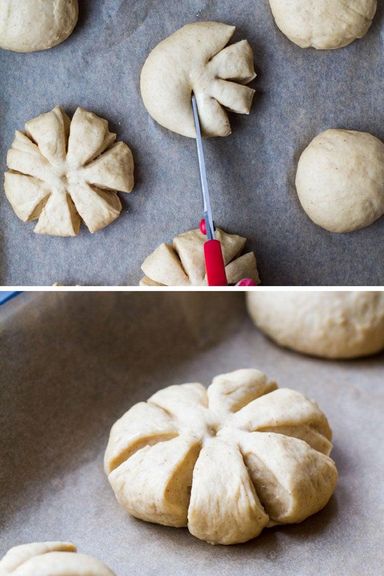 How to shape the dough into pumpkins.
