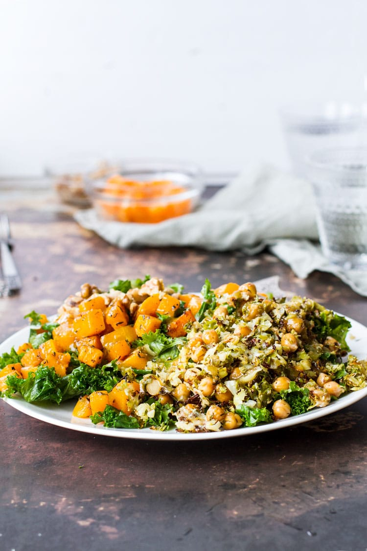 Butternut squash and chickpeas on a bed of kale.