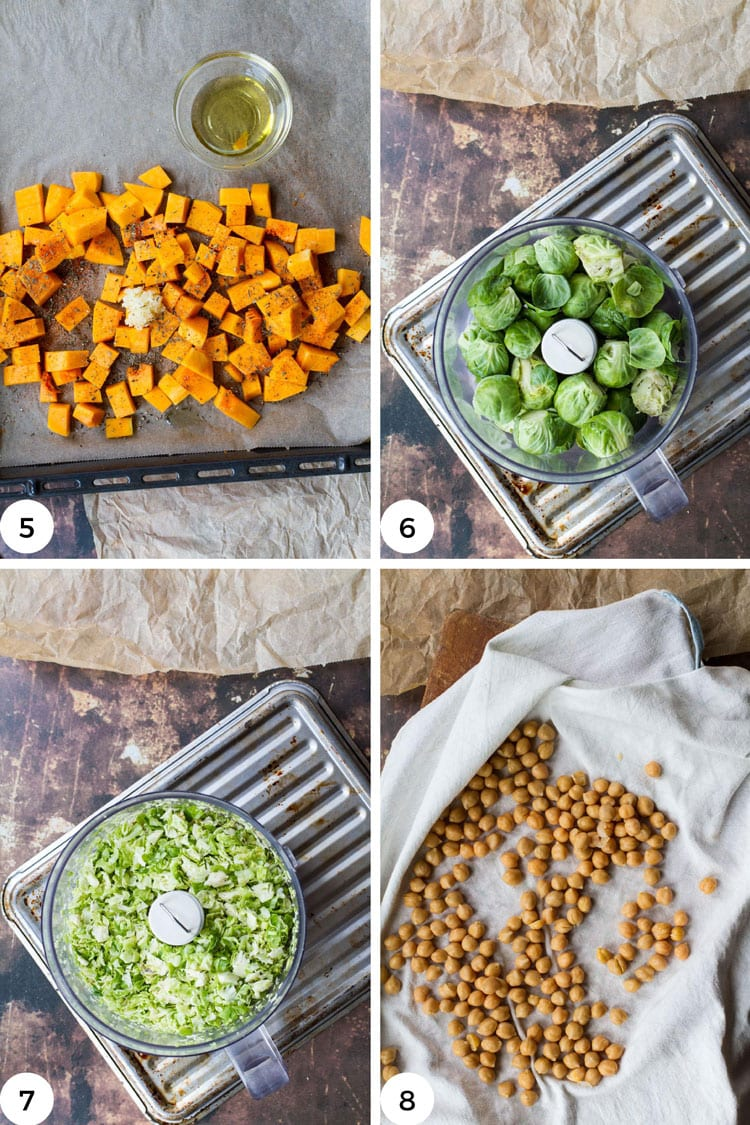 Steps to roast butternut and brussels sprouts.