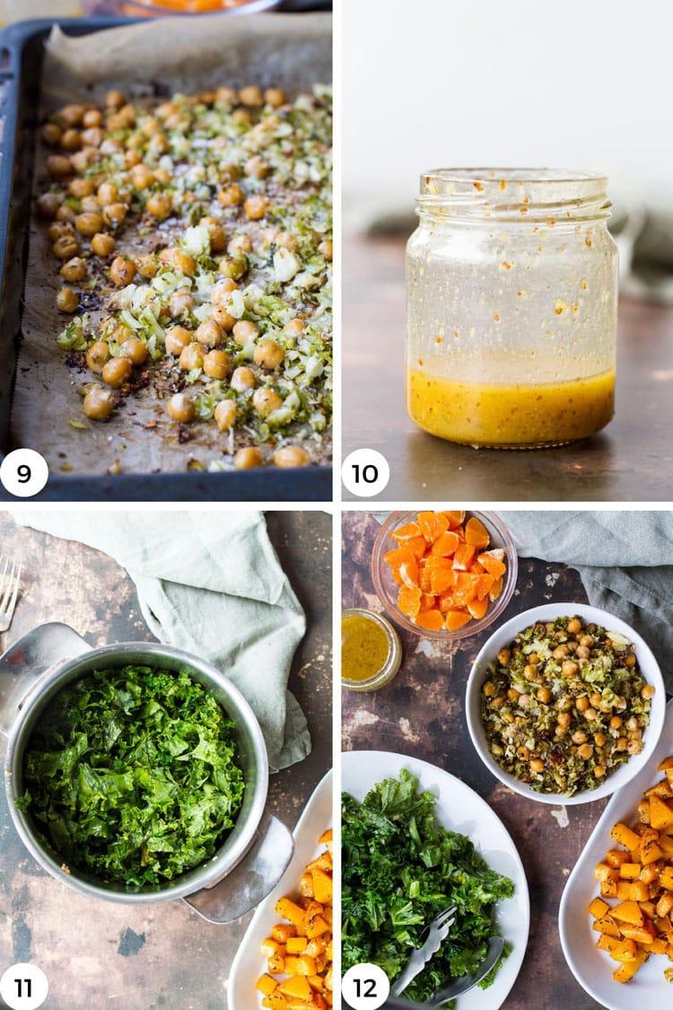 Steps to make this butternut squash kale salad.