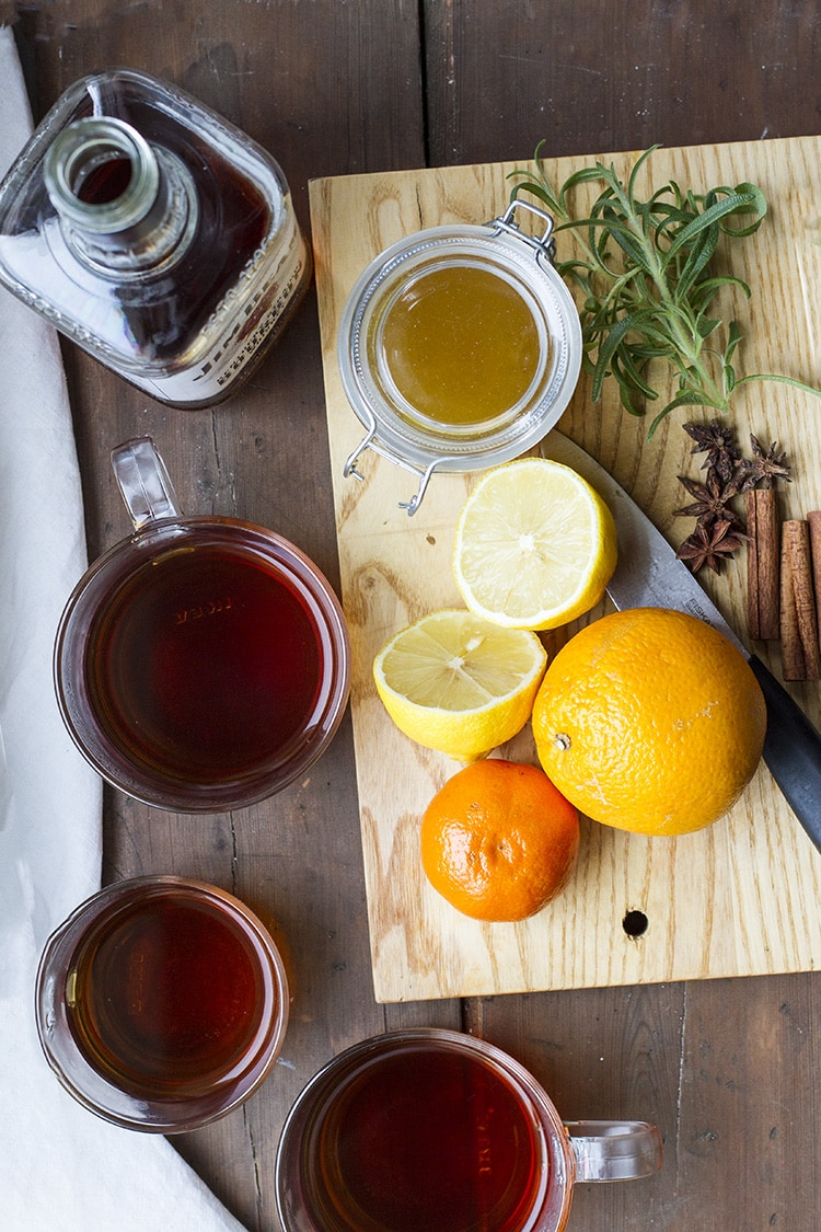Ingredients to make a chai whiskey hot toddy.