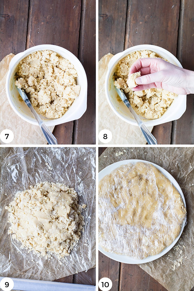 Steps to shape the cookie dough into a disc.