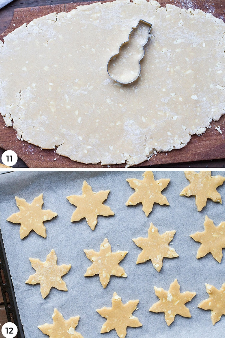Steps to roll and cut the sugar cookies.