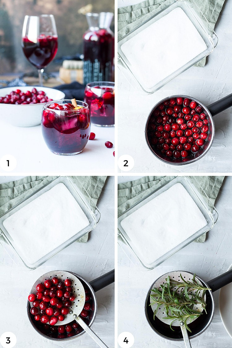 Steps to make red wine syrup.