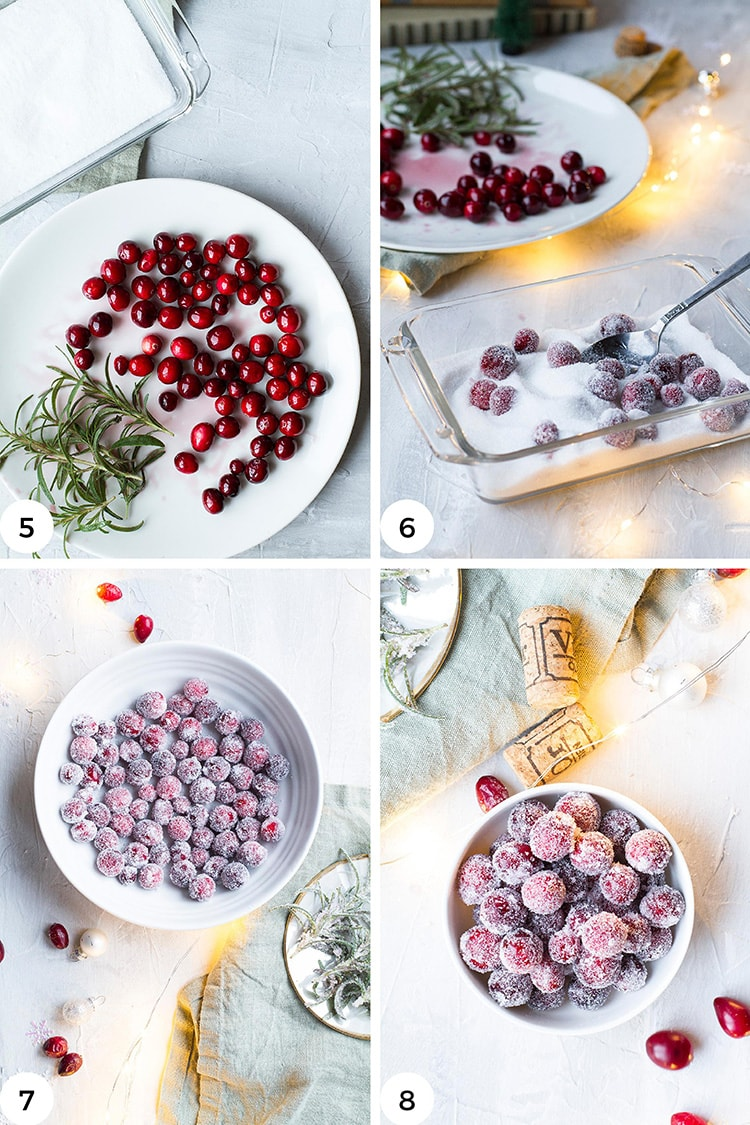 Steps to coat the cranberries with sugar.