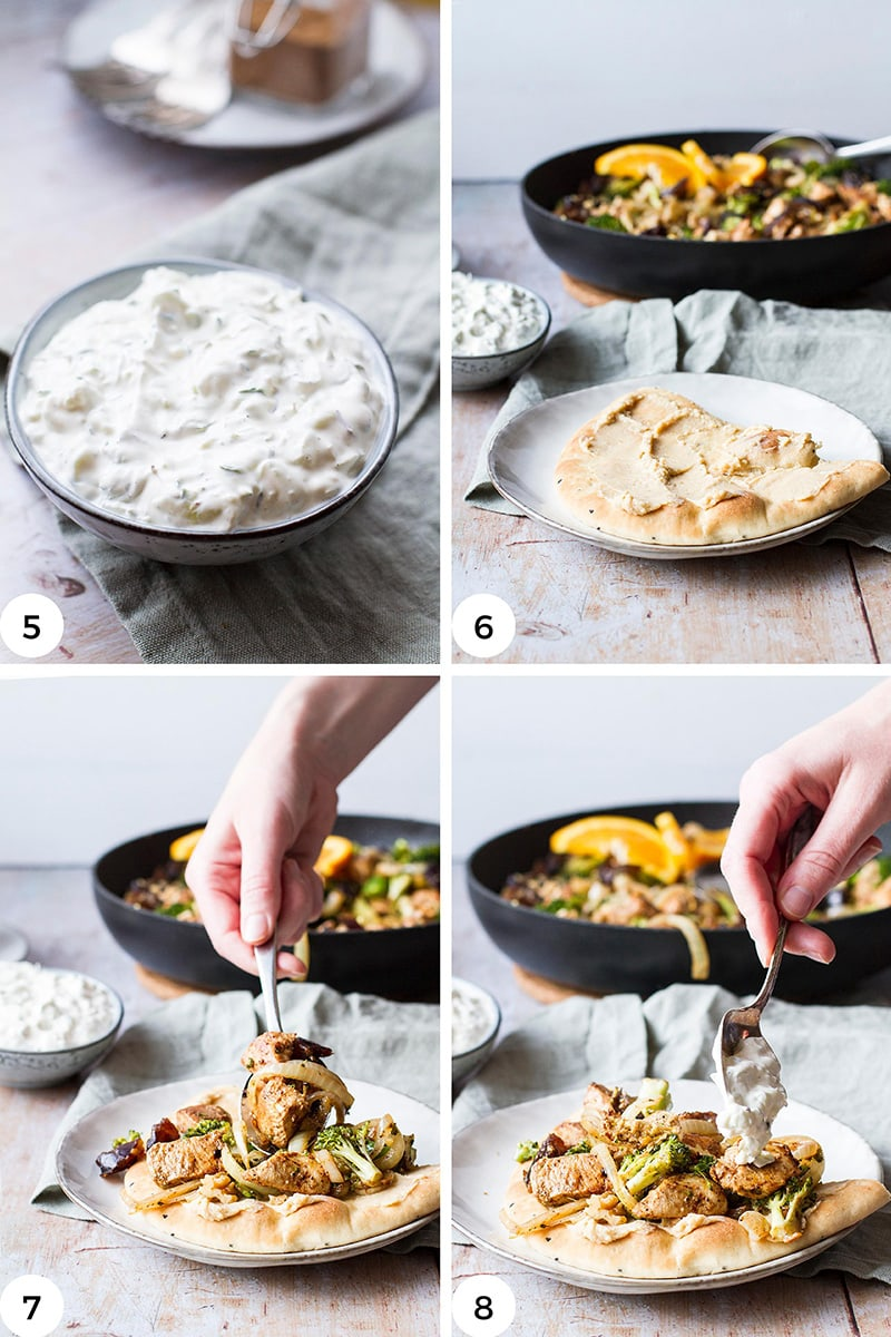 Steps to assemble the naan.